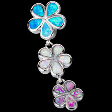 Blue White Pink Fire Opal Mixed 3 Plumeria Silver Jewellery Pendant for Necklace