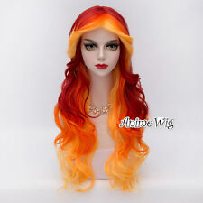 Red Orange Yellow Mixed 75CM Lolita Style Curly Anime Cosplay Wig + Free Wig