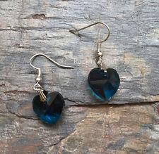 Teal Crystal Heart Drop Earrings - Lovely ladies / girls gift - in gift bag