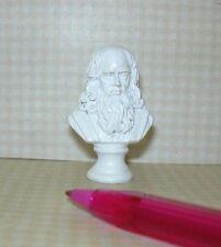 White Resin Bust of Leonardo Da Vinci: DOLLHOUSE Miniatures 1/12 Scale