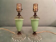 Vintage Pair Hollywood Regency Clear Glass & Green Plastic Bedside Table Lamps