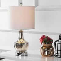JONATHAN Y Colette 20 in. Silver Glass Mini Table Lamp with Linen Drum Shade
