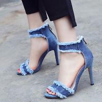 Women Gladiator Sandals Shoes Strappy Denim Open Toe Stiletto High Heel Pumps