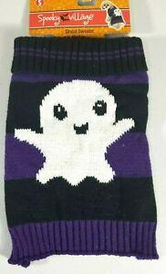 Ghost Sweater Black & Purple Halloween Costume Dogs Dog Puppy Size XS & S