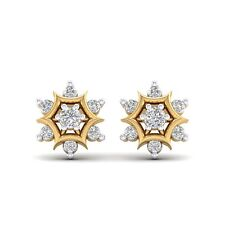 14K Yellow Gold Finish Round Cut Diamond Cluster Mini Stud Earrings For Womens
