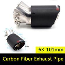 Carbon Fiber Car Auto Exhaust Pipe Muffler Tips Adjustable Angle Matt 63-101mm