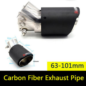Carbon Fiber Car Auto Exhaust Pipe Muffler Tips Adjustable Angle Matt 63-101mm