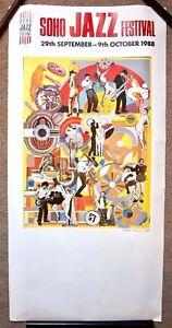ORIGINAL POP ART POSTER - SOHO JAZZ FESTIVAL 1988 EDUARDO PAOLOZZI RISQUE LONG.