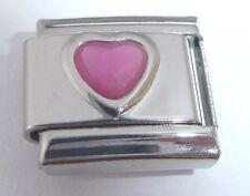 PINK HEART Italian Charm 9mm June Birthstone fits Classic Braceletrs I Love You
