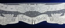 "White Christmas Joy To The World 92"" x 20"" Lace Mantel Scarf Free Shipping"