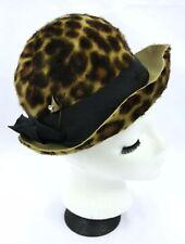 Vintage Homberger's Leopard Cheetah Print Faux Fur Felt Bowler Style Hat w Pin S