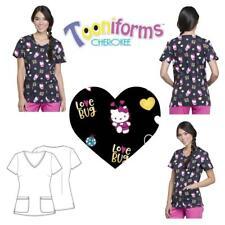 New Cherokee Tooniform Women's V-Neck Love Bug Print Scrub Top Tf633 Hkyb Xs-2Xl
