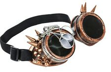 Steampunk Victorian Spike Welding Copper Goggles 2X Lens Scissors Cosplay