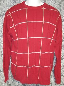 Men's Large Crewneck Sweater, RED with gray blocks within by Haggar