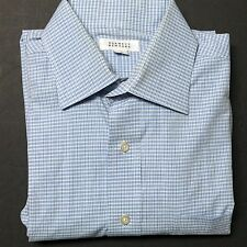 BARNEYS New York Men's Blue/Brown Plaid Dress Shirt Sz 16 Cotton Long Sleeve