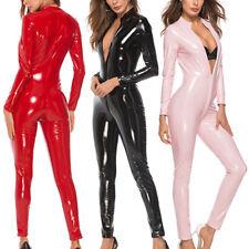 Damen Zipper Leder Glänzend Bodysuit Zipper Catsuit Overall Dessous Bodysuit