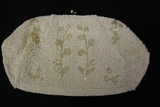 VINTAGE White Hand Beaded BAGS BY DEBBIE, Clear Floral Clutch W/Kissing Closure