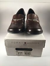 "LADIES WOMENS TOMMY HILFIGER DARK BROWN LEATHER  2"" LOAFERS SHOES SZ 8M"