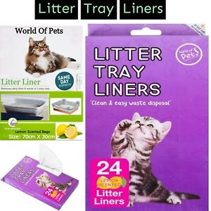 24 Scented Cat Litter Tray Liners Disposable Bags Pet Liner 70 x 30 cm (Approx)