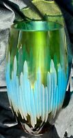 Hand-Engraved / Etched Multi-Color BLUE Green Crystal Heavy Thick ART GLASS VASE