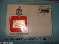 Sierra Leone FDC w/ 23 kt gold replica Stamp 1984 U N African Transport