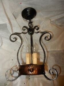 Spanish Revival Arts & Crafts Wrought Iron Chandelier Ceiling Pendant Fixture