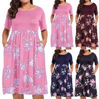 Womens Beach Floral Midi Dress Ladies Summer Casual Boho Loose Dresses Plus Size