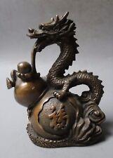 Chinese Old Copper Fengshui Fu Zodiac Year Dragon Bottle gourd Statue Sculpture