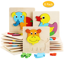 8 Pack Wooden Puzzles For Toddler Kids Ages 2-4 Learning Animals Educational Toy