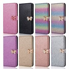 Sparkly Glitter Butterfly Leather Wallet Flip Case Cover For iPhone Samsung UK