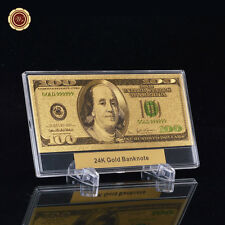 WR Color Gold US $100 Dollar Bill In Acrylic Money Slab Holder Business Gifts