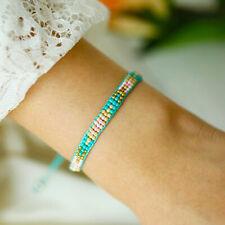 Rocailles Armband türkis für Frauen 3 reihig