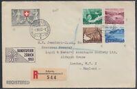 SUI 33699) Schweiz 1953 Pro Patria Mi.-Nr. 580-584 Satzbrief Automobil-Postburea