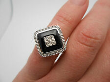 Designer Gabriel & Co. Onyx & Diamond Deco Style Ring In 14k White Gold Size 5
