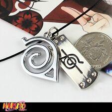 Anime Naruto Uchiha Itachi's mark&Konoha mark double metal pendants necklace!