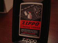 1930'S VINTAGE ZIPPO AD TRY THE FAN TEST REMAKE ZIPPO LIGHTER MINT IN BOX 2015