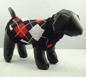 Pet Cat Dog Sweater Black Argyle Knitted Jacket Jumper Coat Chihuahua XS-XL