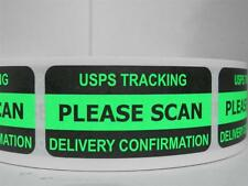 PLEASE SCAN USPS TRACKING DELIVERY CONFIRMATION Sticker Label green fluor 250/rl