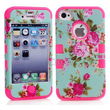 Hard Soft Hybrid Heavy Duty Matte Peony Flower Skin Combo Case Cover For iPhone