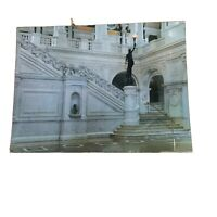 Great Hall View of Grand Staircase Bronze Statue Torch Library Congress Postcard