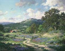 Hill Country Evening Print by Larry Dyke Old Barn Windmill and Texas Bluebonnets