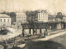 Nantes comblement de l' Erdre gravure 71 cm par 58 cm