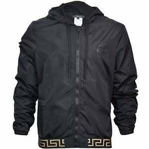 Versace Iconic Men's Luxe Windbreaker Jacket, Black/gold