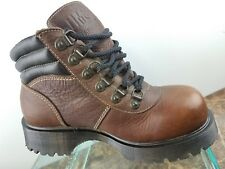 Dr Martens Waterproof Brown Leather 6 Eye Lace Up Steel Toe Boots Womens 7.5