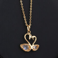 Mother Daughter Swan Together Gold Plated Cubic Zircon Pendant Necklace Women