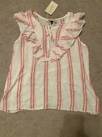 NWT White & Red Stripe Ruffle Bib Tank - Universal Thread - XS S M L XL XXL #g5