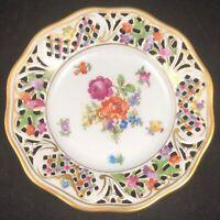Schumann Empress Dresden Flowers Reticulated Bread Plate Porcelain 5 3/4 Ref 1