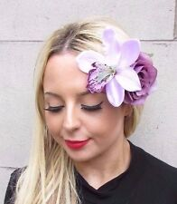 Large Lilac Mauve Purple Rose Orchid Flower Hair Clip Fascinator Rockabilly 3448