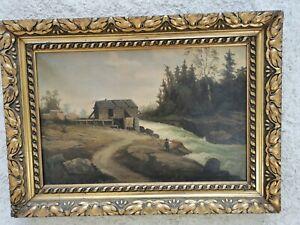 Grand tableau ancien XIXe paysage animé huile sur toile superbe cadre