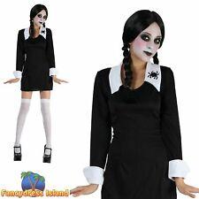 HALLOWEEN WEDNESDAY ADAMS CREEPY SCHOOLGIRL - Age 3-13 Girls Fancy Dress Costume